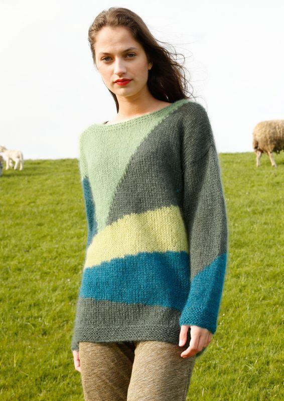 Pullover mit Farbflaechen stricken