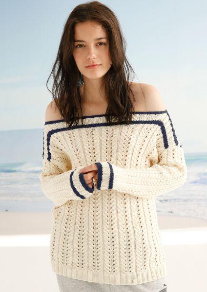 Pullover mit Lochmuster-Rippen