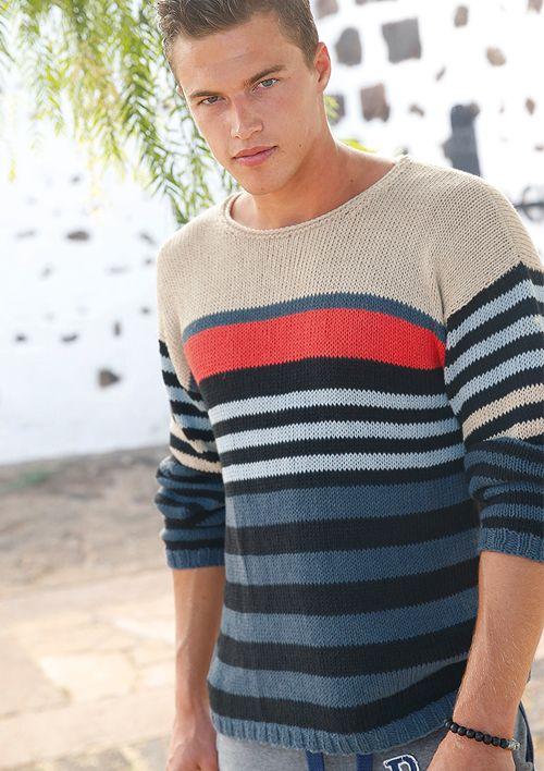 Männer-Strickmode: Gestreifte Pullover