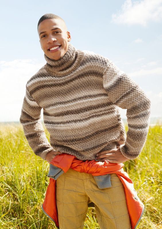 Männer-Strickmode: Melierter Herrenpullover