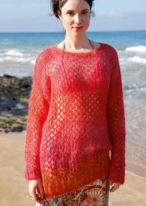 Farbenfroh: Pullover mit Netzmuster