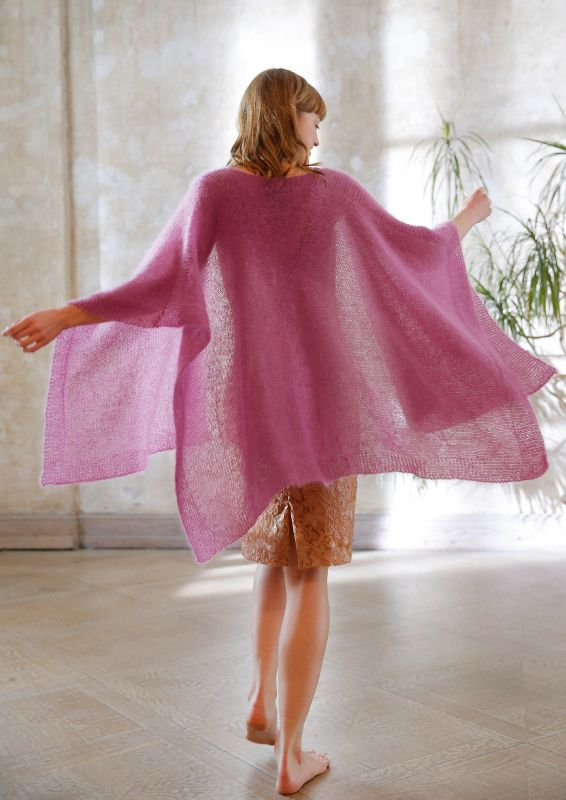 Poncho aus Kid-Mohair stricken
