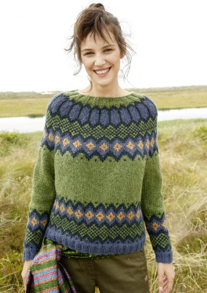 Jacquard-Pullover mit Rundpasse