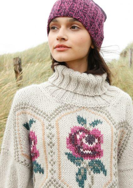 Pullover mit Rosenmuster bestickt