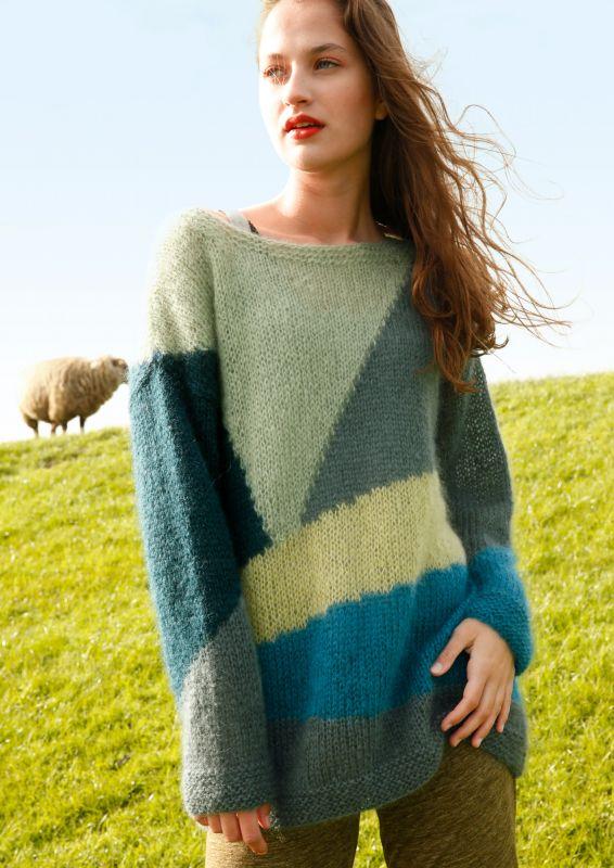Tolle Intarsien Pullover mit Farbflaechen