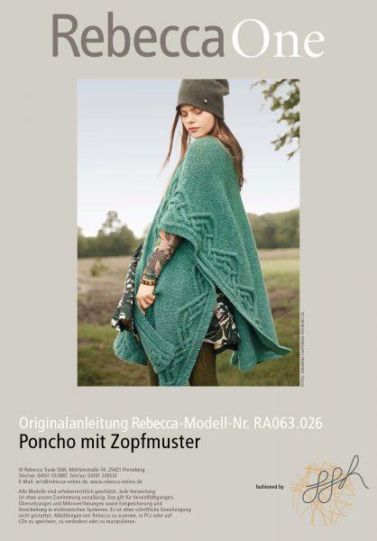 Strickmuster - Poncho mit Zopfmuster
