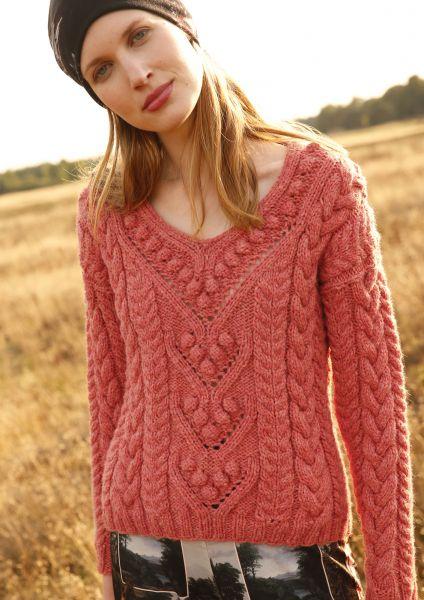 Strickanleitung - Pullover mit Zöpfen und Noppen