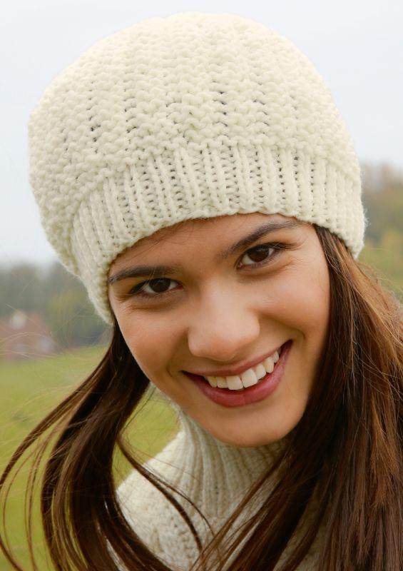 Strickmode in Naturweiß: Mütze stricken