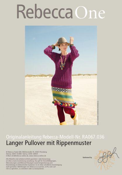 Langer Pullover mit Rippenmuster