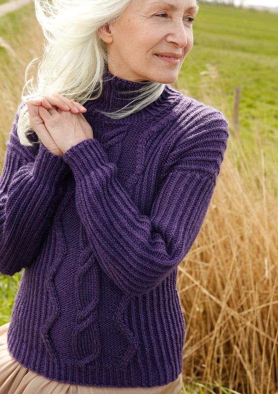 Pullover ausedlem Mohair mit Fantasiemuster