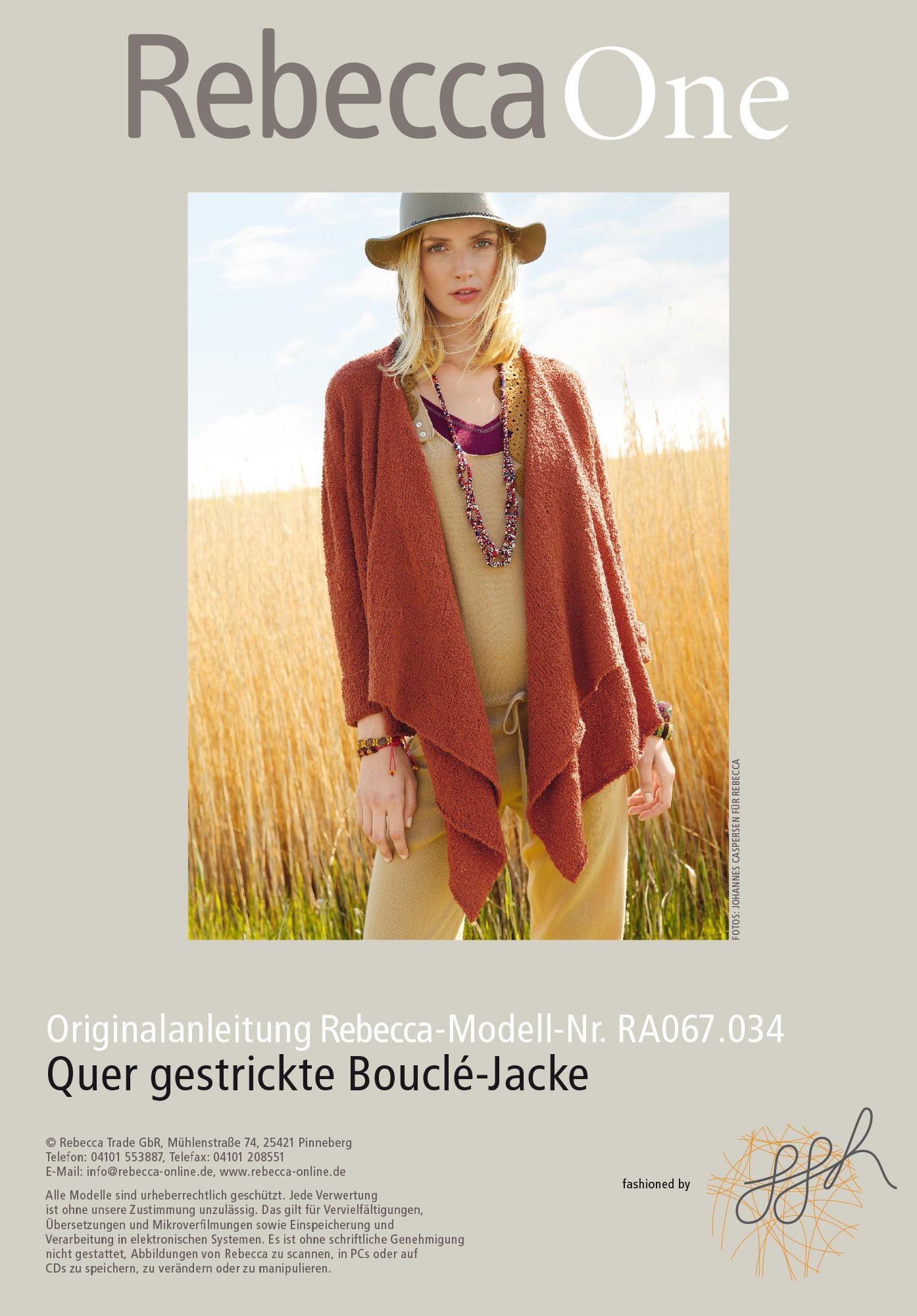 Quer gestrickte Bouclé-Jacke   Rebecca