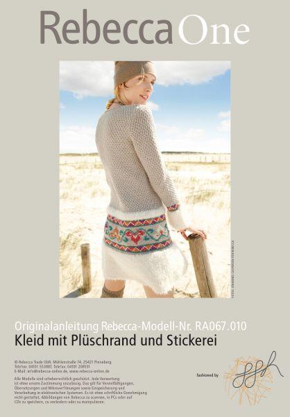 Kleid mit Plüschrand und Stickerei