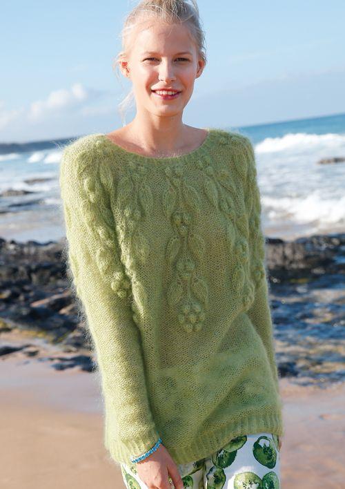 Pullover mit Blattmuster aus Mohair stricken