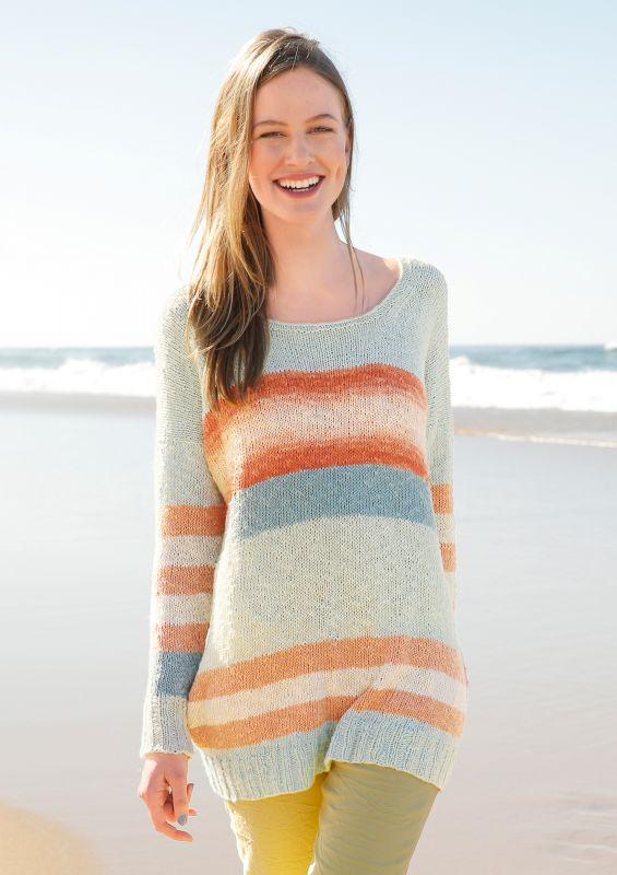 Streifen stricken: Weiter Pullover mit Blockstreifen