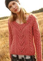 Pullover mit Zöpfen und Noppen