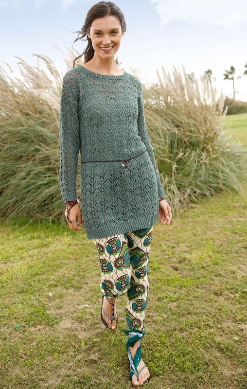 Lochmuster-Strickanleitungen: Langer Pullover