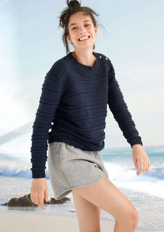 Neue Marine: Pullover mit Querrippen stricken