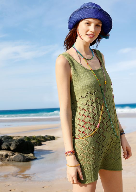 Meeresfarben: Minikleid mit Lochmuster