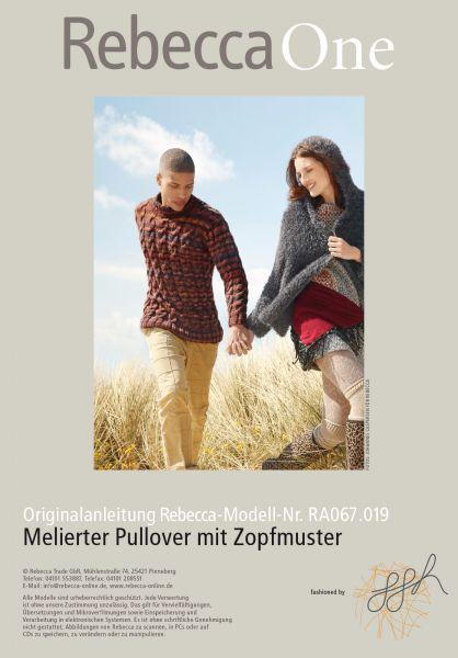 Melierter Pullover mit Zöpfen