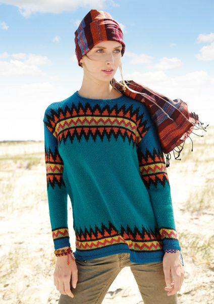 Weiter Pullover mit Zackenmuster