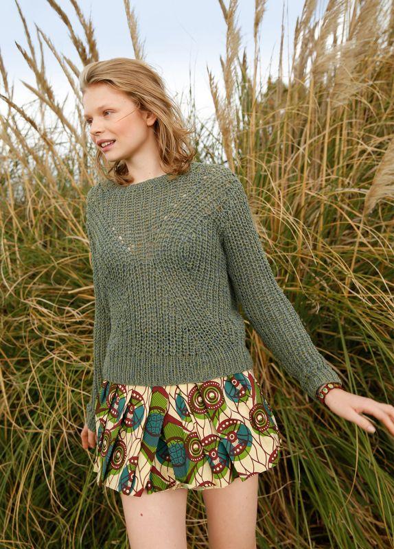 Strickanleitung Pullover im Halbpatent aus recycelte Baumwolle