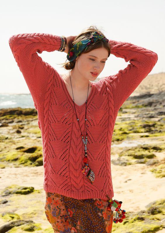Lochmuster-Strickmodelle: Pullover mit Zoepfen