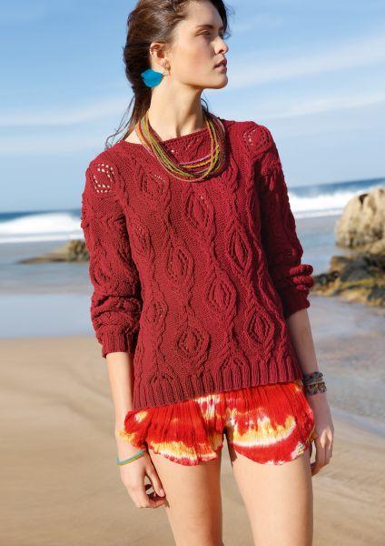 Pullover mit Zopf-Lochmuster