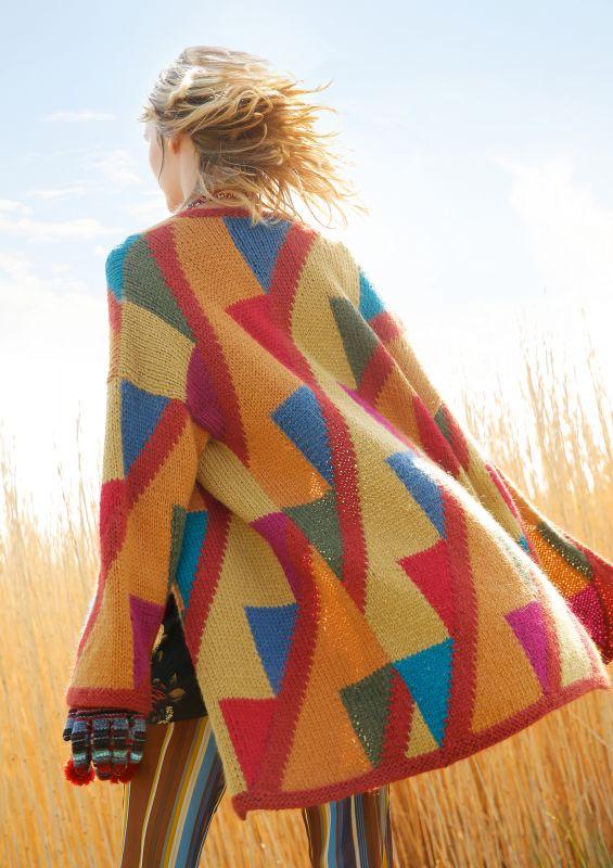 Mantel mit Dreieck-Muster stricken