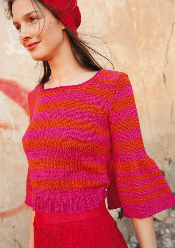 Pullover mit Streifen Color Blocking stricken