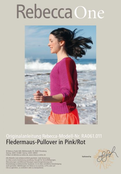 Fledermaus-Pullover in Pink/Rot