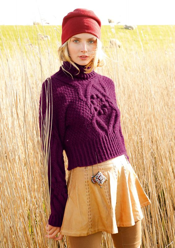Pullover mit Noppen und Zoepfen stricken
