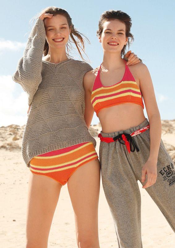 Geringelte Bikini stricken Strickanleitung