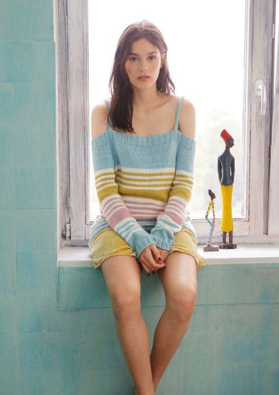 Schulterfreier Pullover mit Streifen stricken