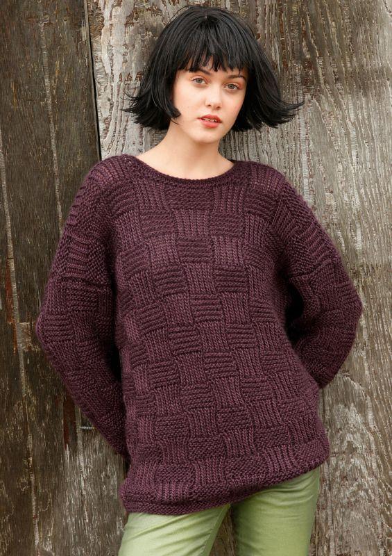 Pullover mit Webmuster aus Mohair-Seide