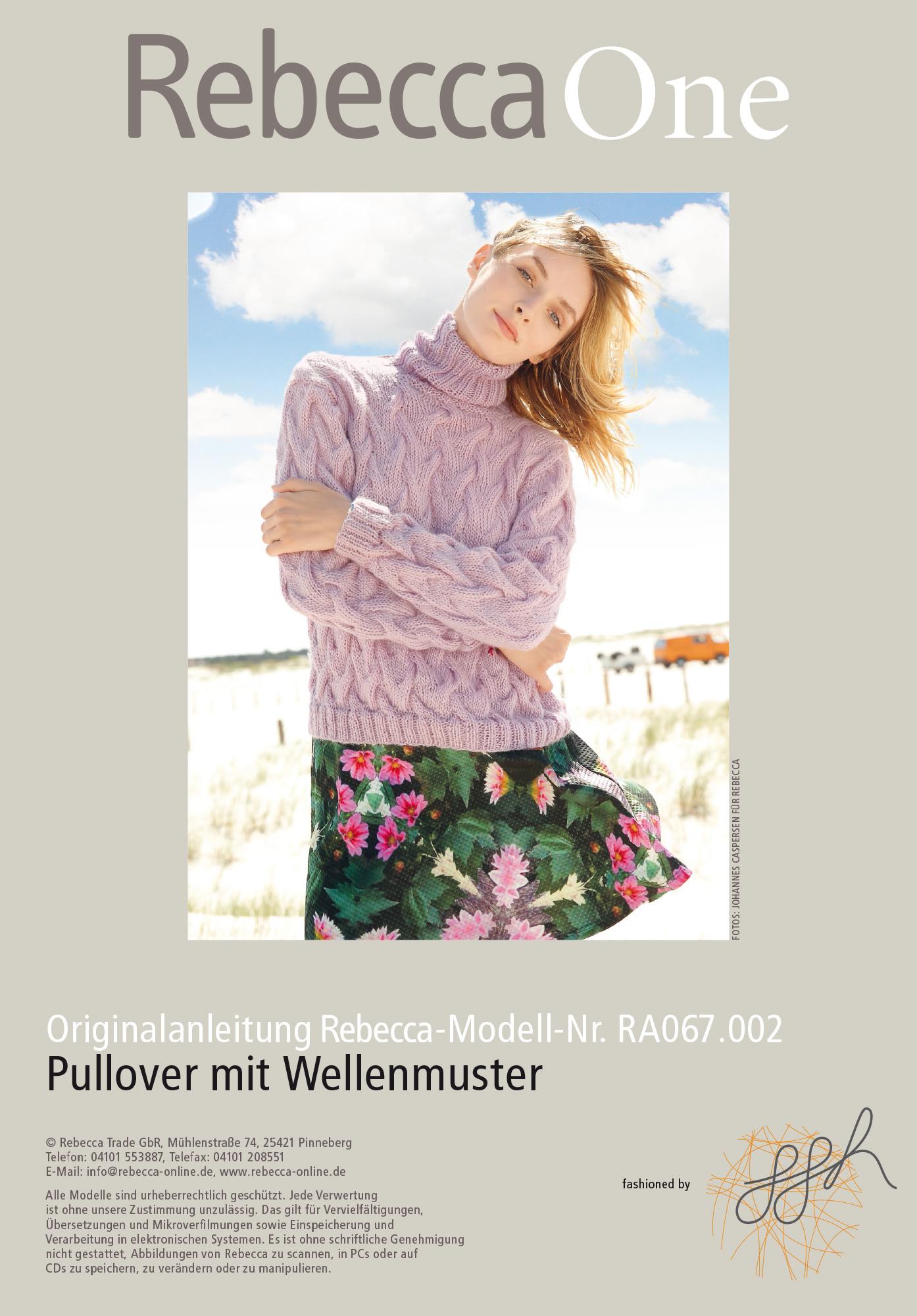 Gestrickter Pullover mit Lochmuster, Wellenmuster und
