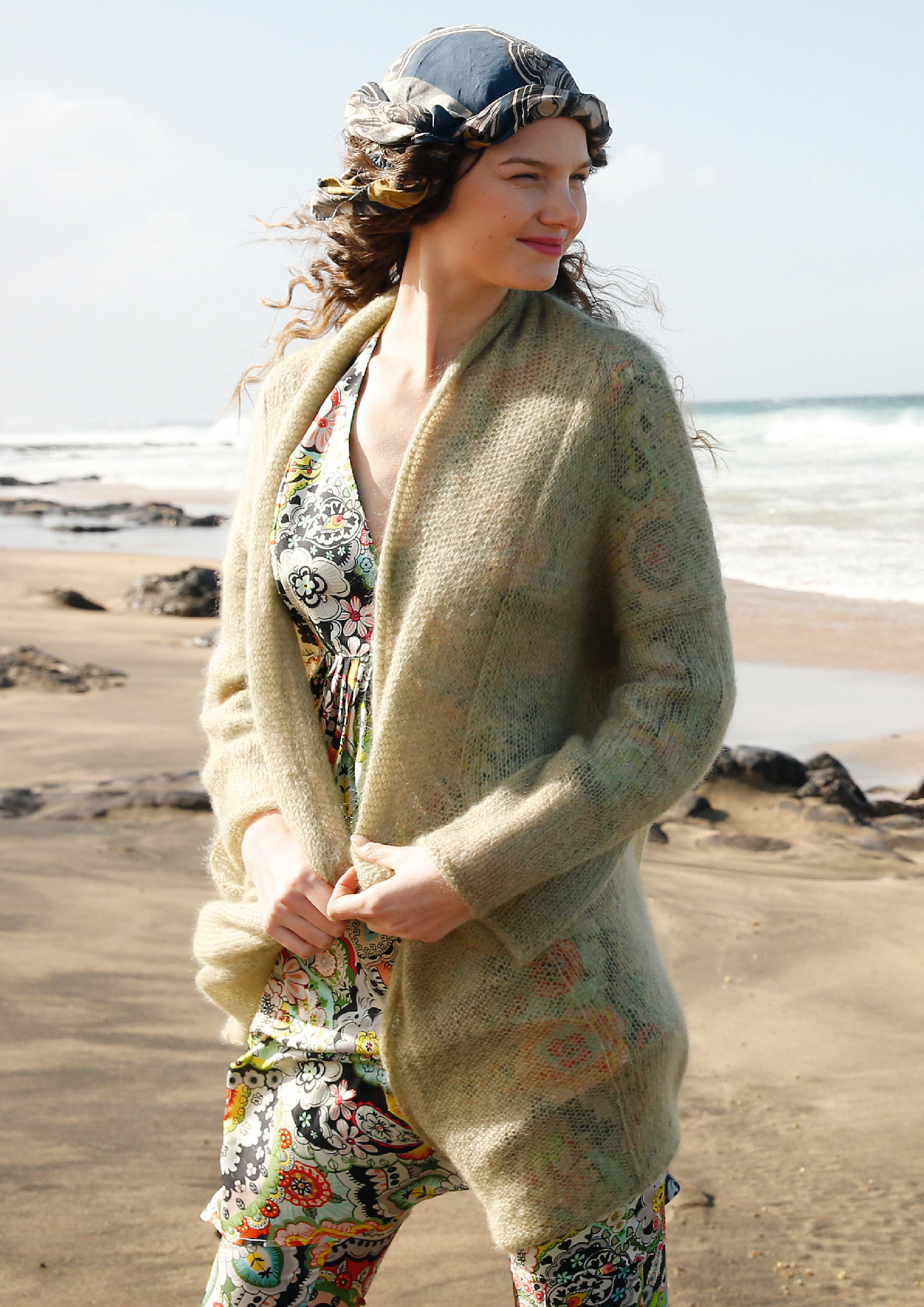 Knit Pattern Loose Fitting Mohair Cardigan Rebecca