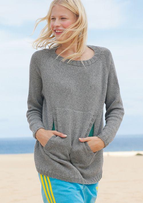 Raglan von onben stricken sportlicher Pullover