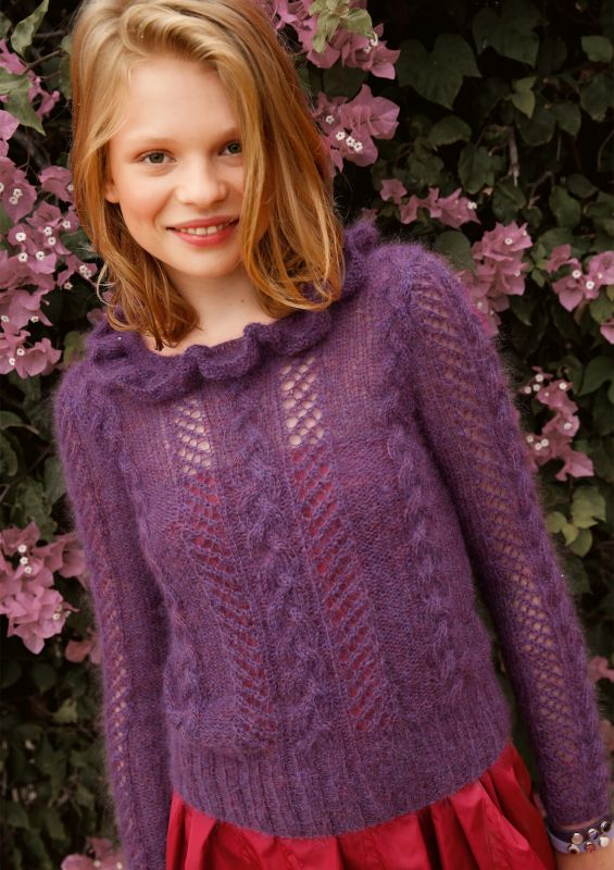 Lila Pullover stricken