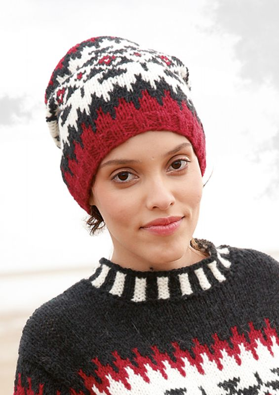 Strickset Mütze mit Jacquard-Muster