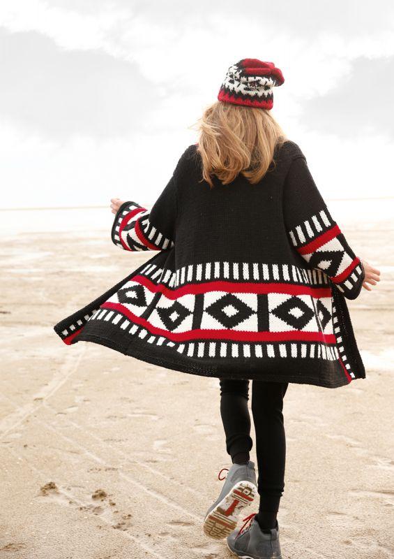Jacquard stricken: Mantel mit Rauten