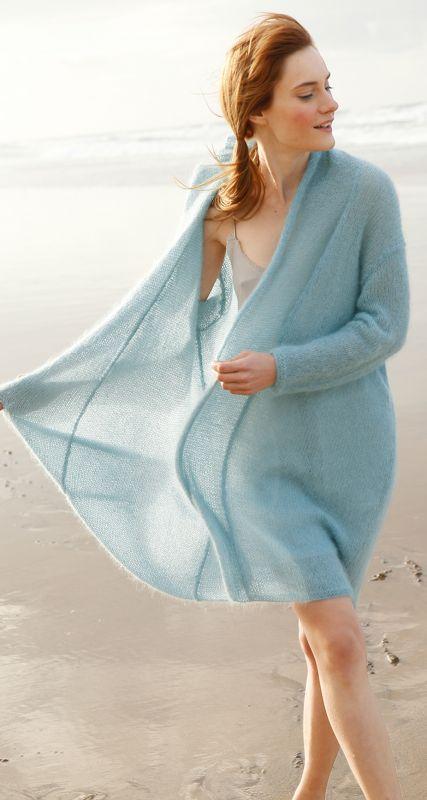 Meeresfarben:WEiter Mantel mit großem Kragen