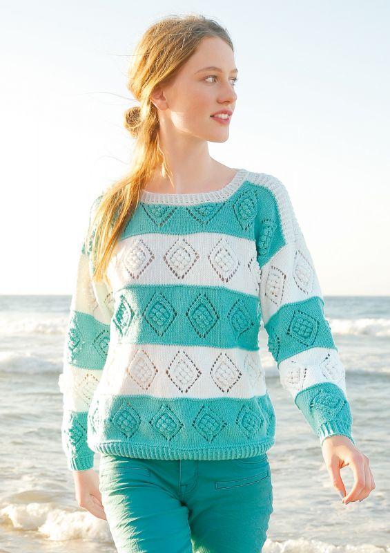 Strickpullover mit Streifen: gestrickter Pullover mit Lochmuster