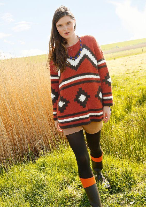 Alpaka-Pullover mit grafischem Muster