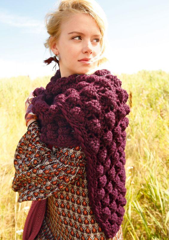 Schal mit Noppen stricken