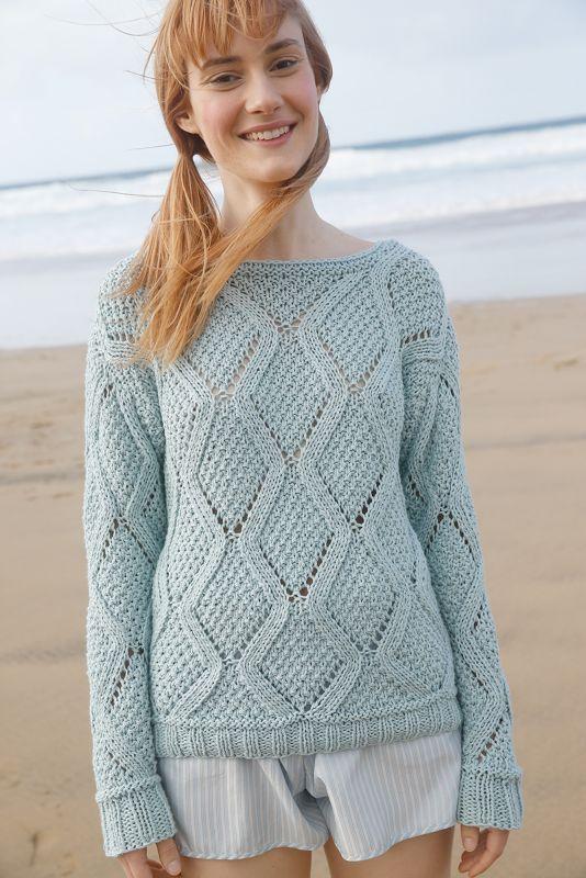Meeresfarben: Rhobenmuster-Pullover