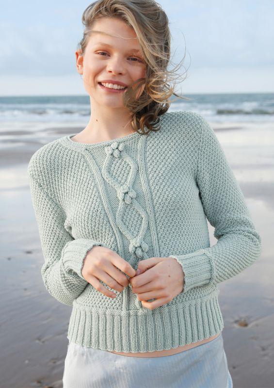Meeresfarben: Pullover mit Rhomben