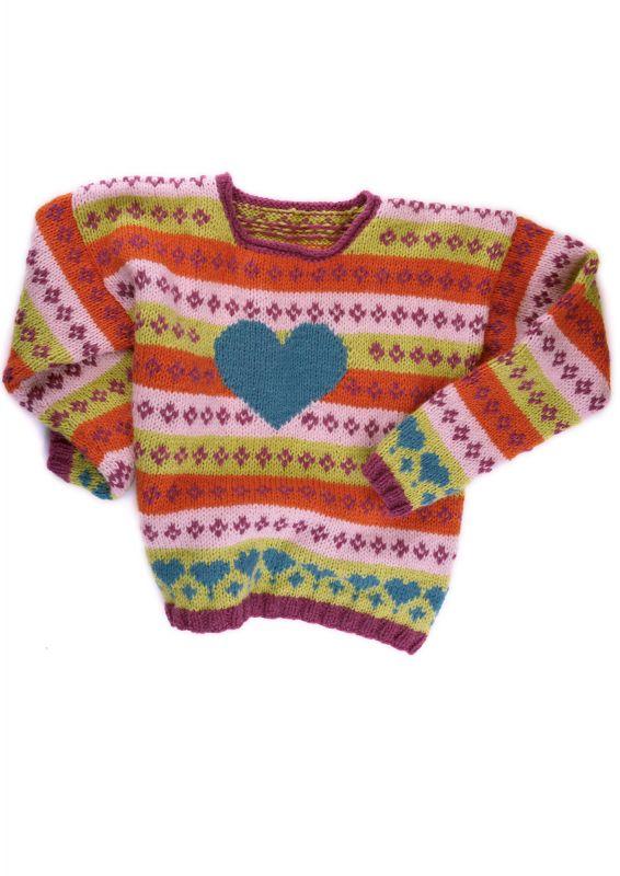 Kinderpullover mit Jaqcuard-Muster Strickset inklusive Strickanleitung