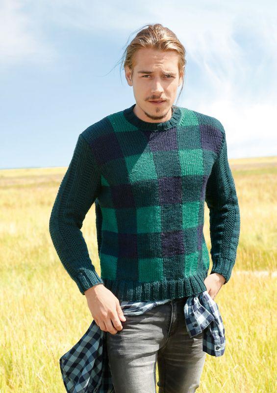 Herren-Strickmode: Pullover mit Karos und Rippen