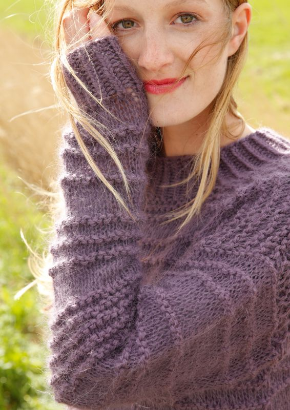 Pullover mit Querrippen stricken Alpaka