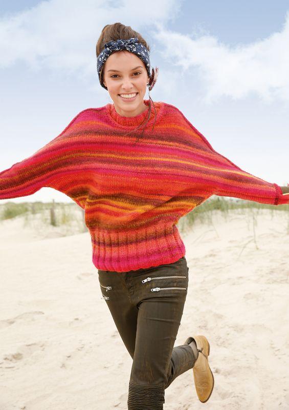 Farbenfroh:  Melierter Fledermaus-Pullover